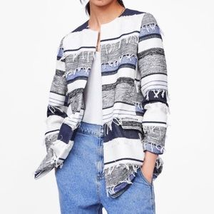 Zara Blue Striped Fringe Open Front Blazer Jacket